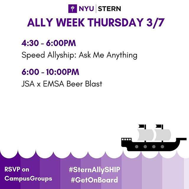 Speed Allyship: It's like speed dating but better! Join a group of peers as they open up about their experiences with allyship through quick, casual and candid conversations. Sign up on CampusGroups! #sternallyship #GetOnBoard