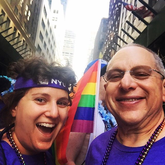 "Dara Kagan (@dkagzzz), MBA2: ""I'm Dara. I'm queer. And I love my Dad (Stern '89), and he loves me (Stern '19). He has always been supportive of everything I do, and everything I am. He has always been an incredibly ally, doing things like marching in Pride parades and making our synagogue a more LGBTQ-friendly space. I know my Dad always has my back, and celebrates and loves me for who I am."" #SternAllyship #GetOnBoard"