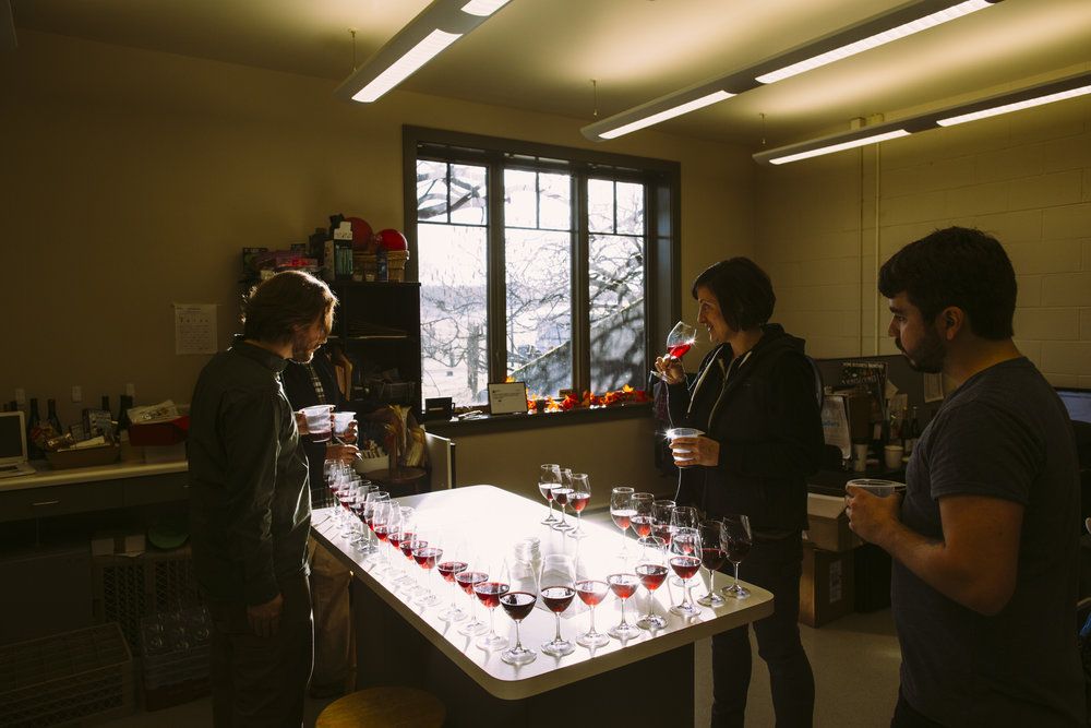 Adelsheim Employees Taste Various Wines