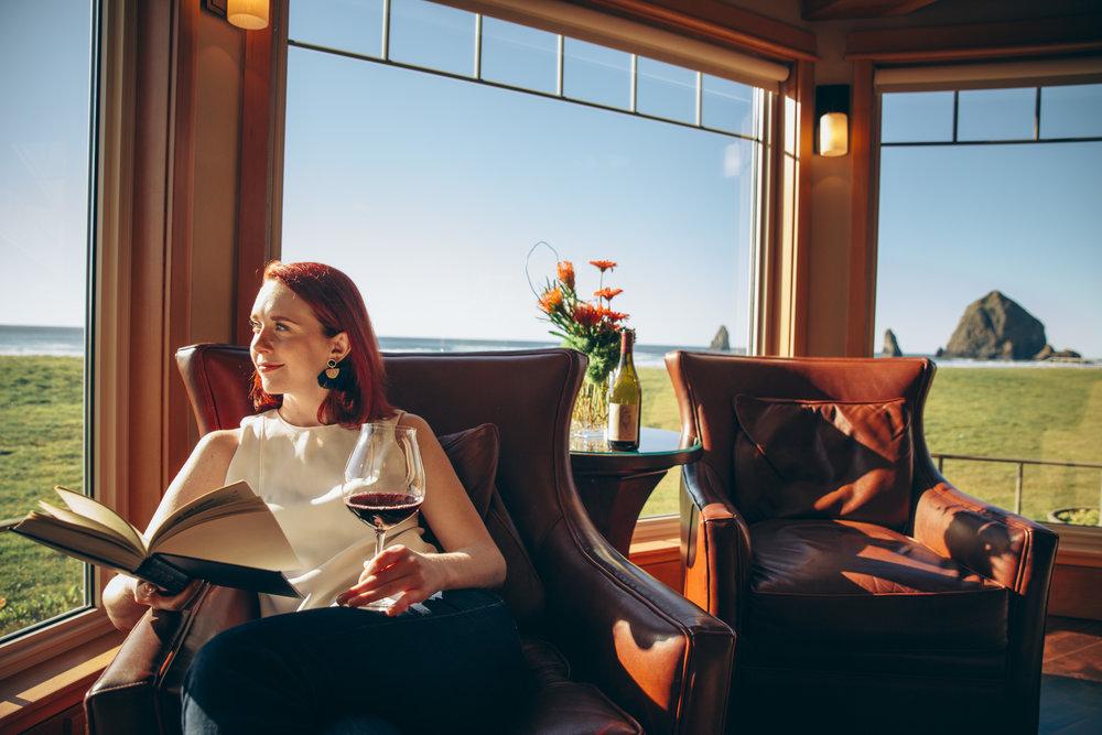 Relaxing and Enjoying Adelsheim Wine at the Stephanie Inn