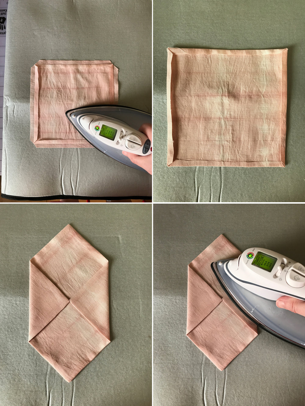 "13. Press the seams back using an iron.  14. Do this for both sides. 15. Carefully turn the work right side out, using a blunt pencil or dull-tipped dowel to make the corners nice and sharp. Fold in the side flaps until the ""noses"" touch, using your paper pattern for reference (the cardstock as well if it makes things easier). 16. Create well using the iron."