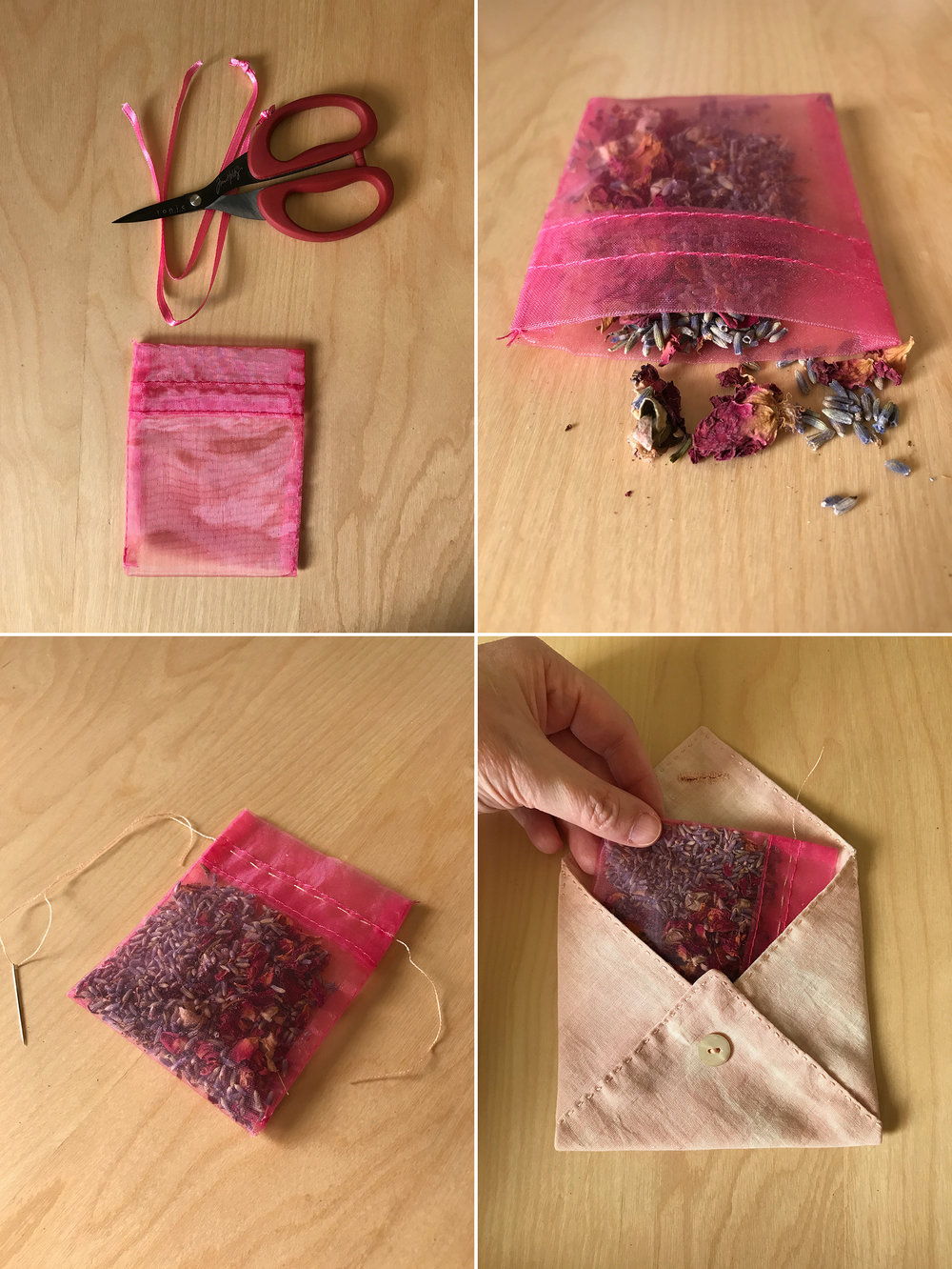51. Give your finished envelope a little loving kiss and set her aside for a moment. If your little jewelry pouch has a drawstring, remove it. 52. Fill the pouch with a blend of dried lavender and rose buds. Don't fill too full; you want the finished dream pillow to be soft and easy. 53. To temporarily seal the pouch, make a very loose running stitch along the opening. No need to knot, really. When the dried flower mix looses it's pungency, you can easily remove the stitched thread, refill with fresh flowers and sew a new loose seam. 54. Insert the pouch into your finished envelope.