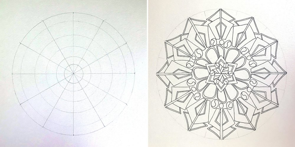 I created a 12-point framework for my mandala. (Louise shows you how to create a variety of frameworks in the book.) Using my reference sheet of motifs, I then created my mandala!