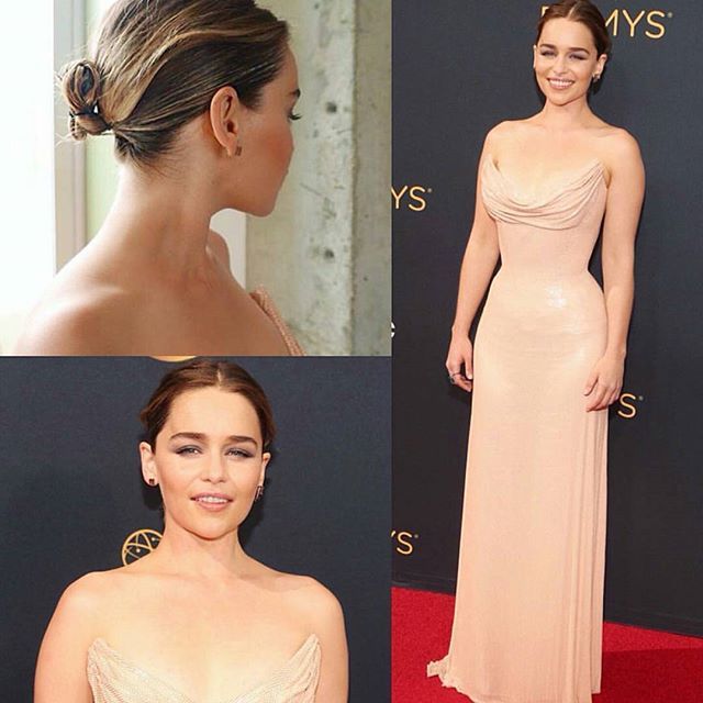 This is an amazing bridal look for #GameofThrones actress #EmiliaClarke Her close, tight bun with a creative pin up is very  chic