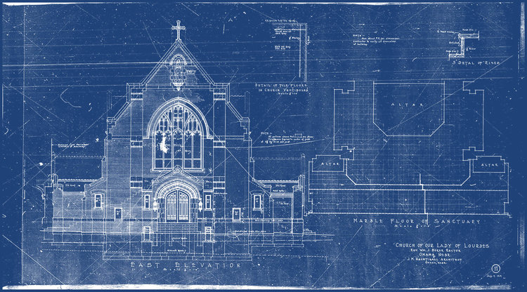 The history of blueprints cobalt blueprint fastest printing in original cyanotype blueprint church of our lady of lourdes 1919 malvernweather Images