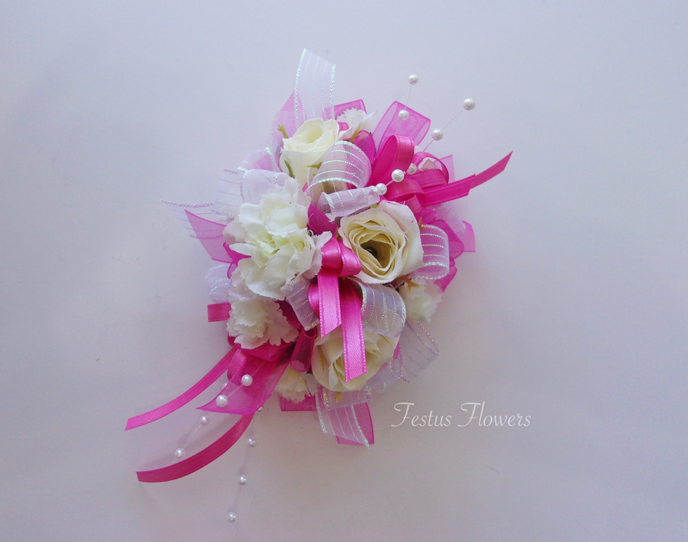 White Hot Pink Silk Wrist Corsage Festusflowers