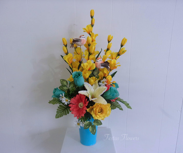 Yellow coral and turquoise phoenix arrangement silk flowers yellow coral and turquoise phoenix arrangement silk flowers mightylinksfo
