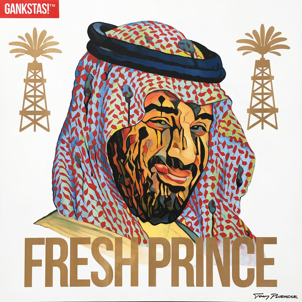 """Fresh Prince"" 2017, oil on board 48""x48"" - Part of my gankstas!™ series, this portrait of Saudi Crown Prince Mohammed Bin Salman features his oil wells and his charming ""smile."""