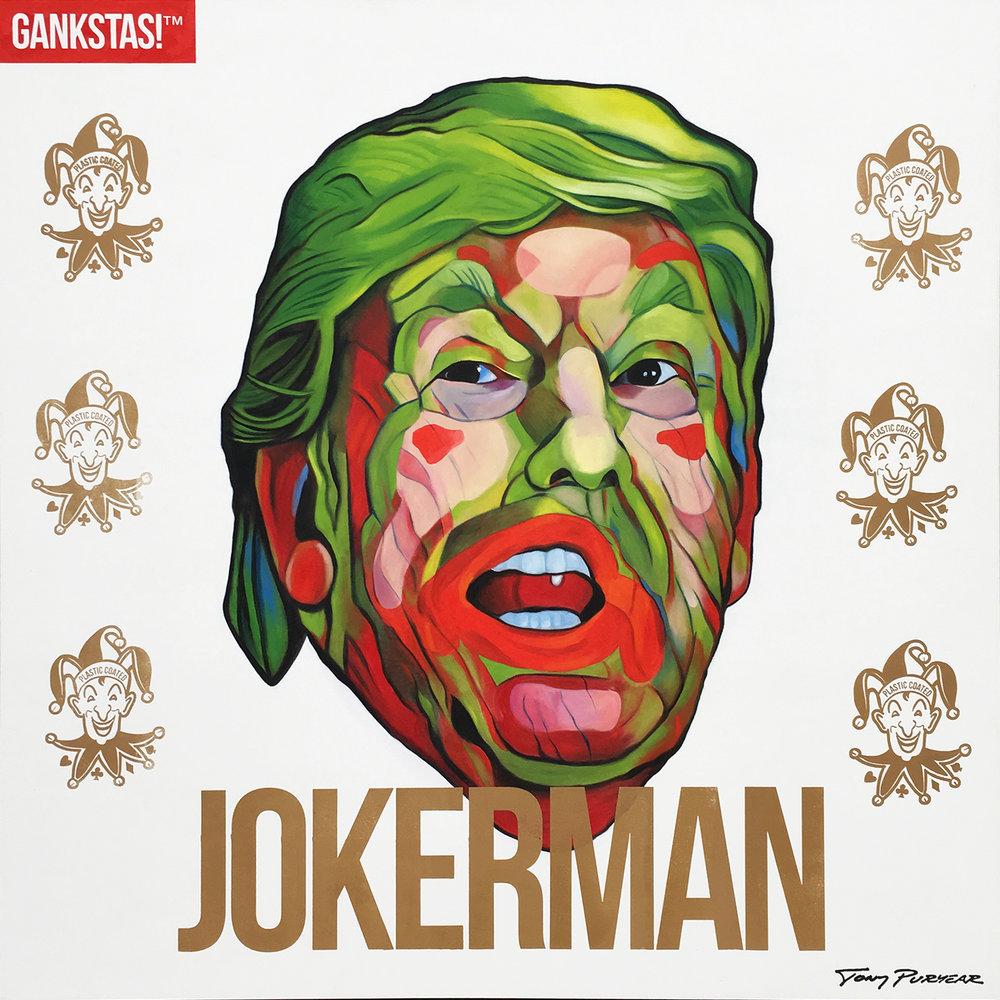 """""""Jokerman"""" 2017, oil on board 48""""x48"""" -"""