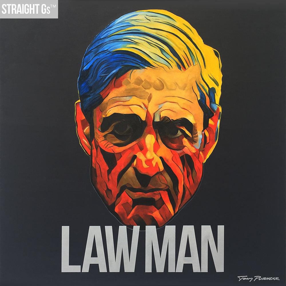 """""""Law Man"""" 2017, oil on board 48""""x48"""" -"""