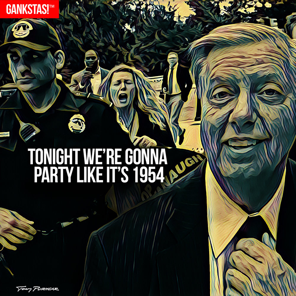 """ WE'RE GONNA PARTY LIKE IT'S 1954 "" - 2017, digital print on acid-free paper, 14.5""x14.5""  Lindsey Graham  exults after the confirmation of  Brett Kavanaugh  to the Supreme Court."