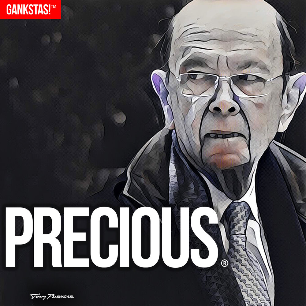 """ PRECIOUS "" - 2017, digital print on acid-free paper, 14.5""x14.5"" Portrait of Commerce Secretary  Wilbur Ross"
