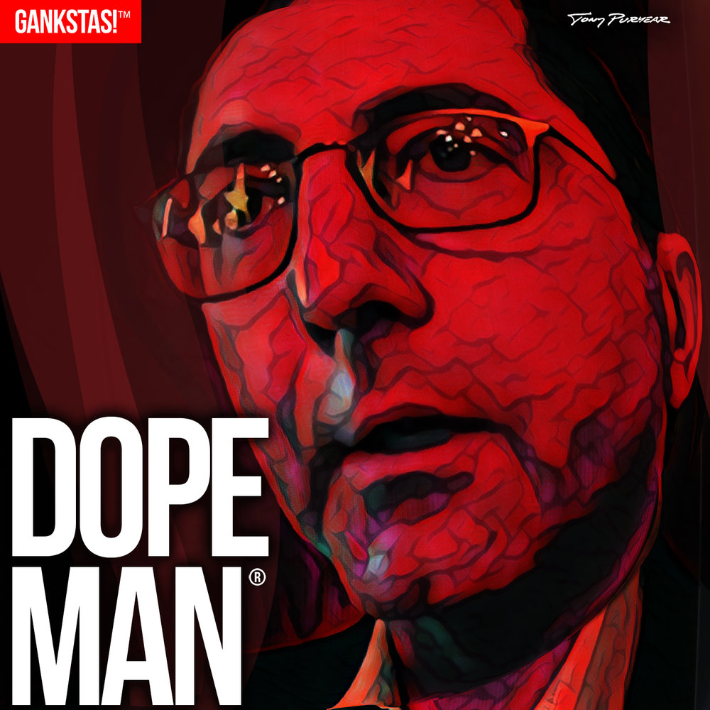 """ DOPE MAN "" - 2017, digital print on acid-free paper, 14.5""x14.5"" Health and Human Services Secretary  Alex Azar , a man who, as Chairman of Eli Lilly Co. was responsible for the 500% increase in the price of insulin."