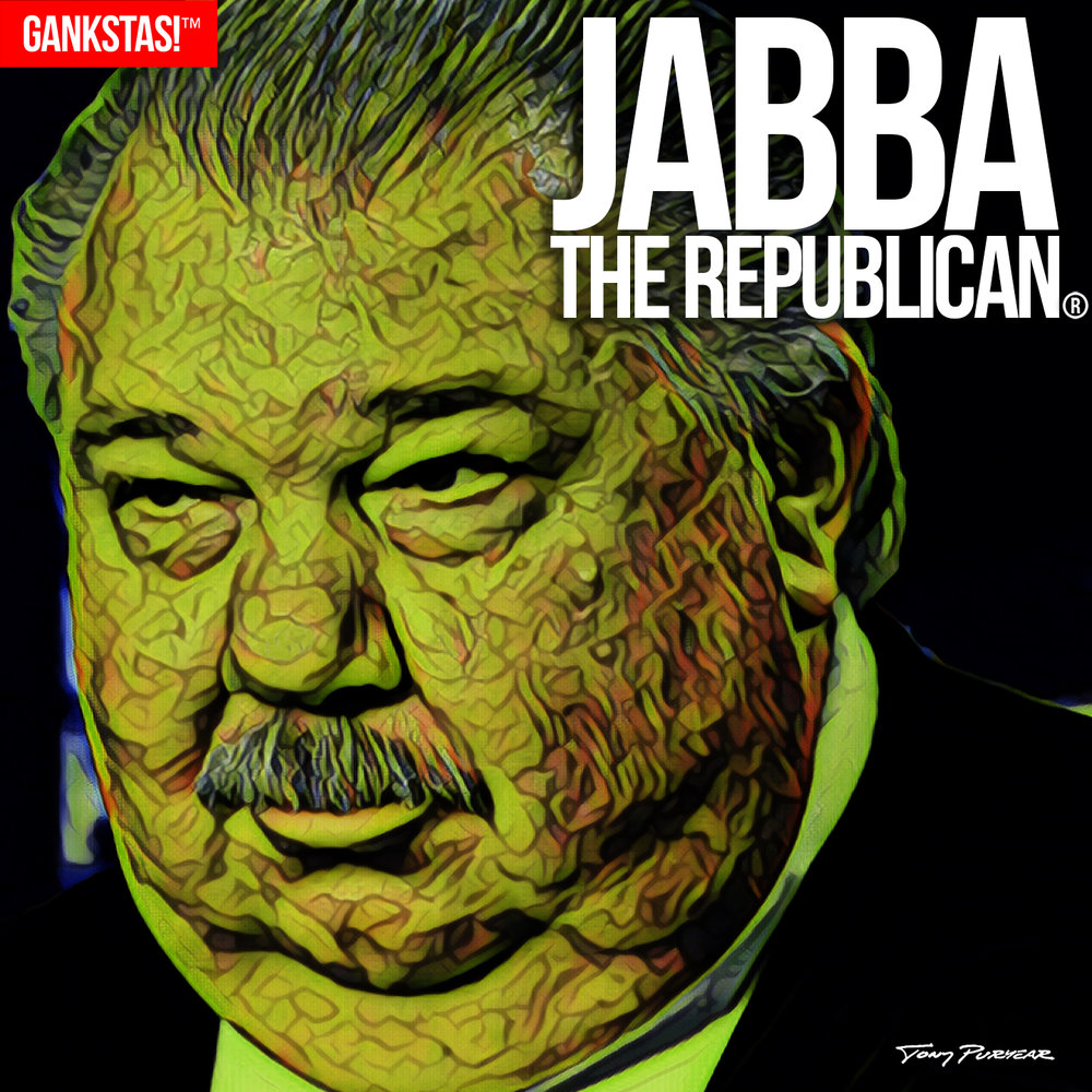 """ JABBA THE REPUBLICAN "" - 2017, digital print on acid-free paper, 14.5""x14.5"" Portrait of  Sam Clovis , disgraced Republican Party operative."