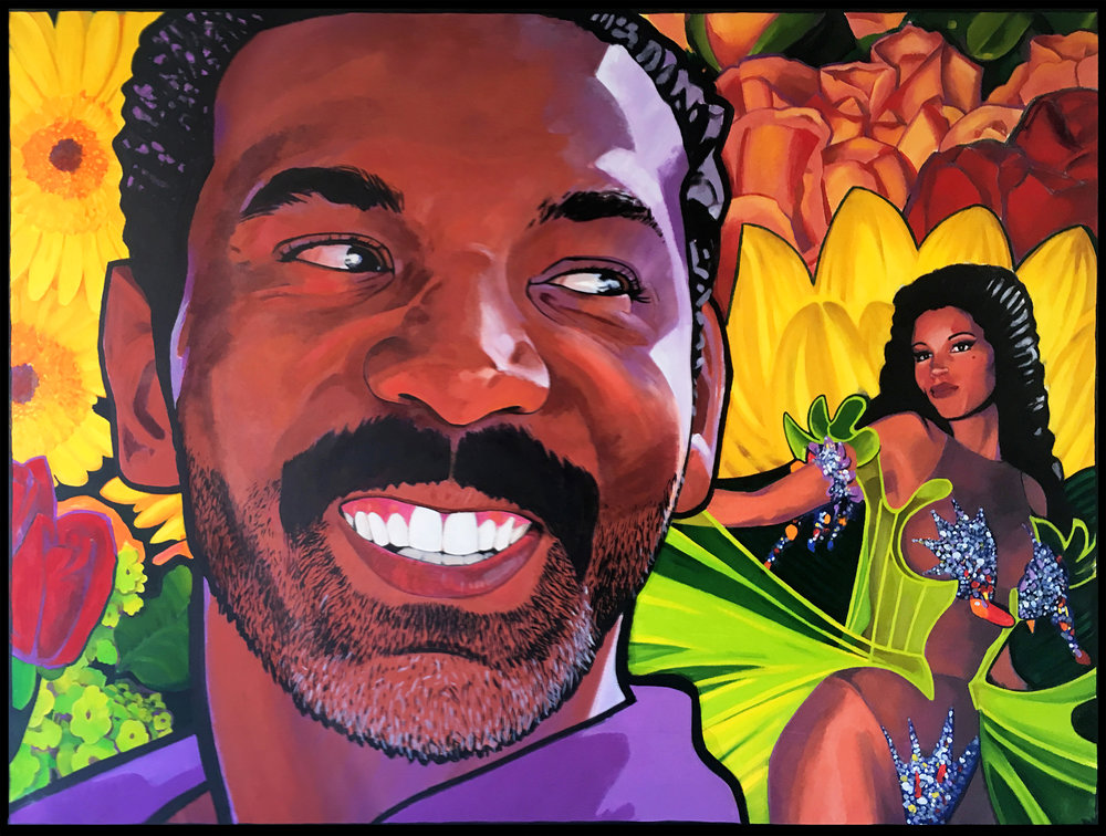"""""""Pienso Oir Tu Voz"""" 1993, oil on canvas 56'""""x74"""" - Screenwriter Takashi Bufford (""""Set It Off"""") brings the Black Boy Joy."""