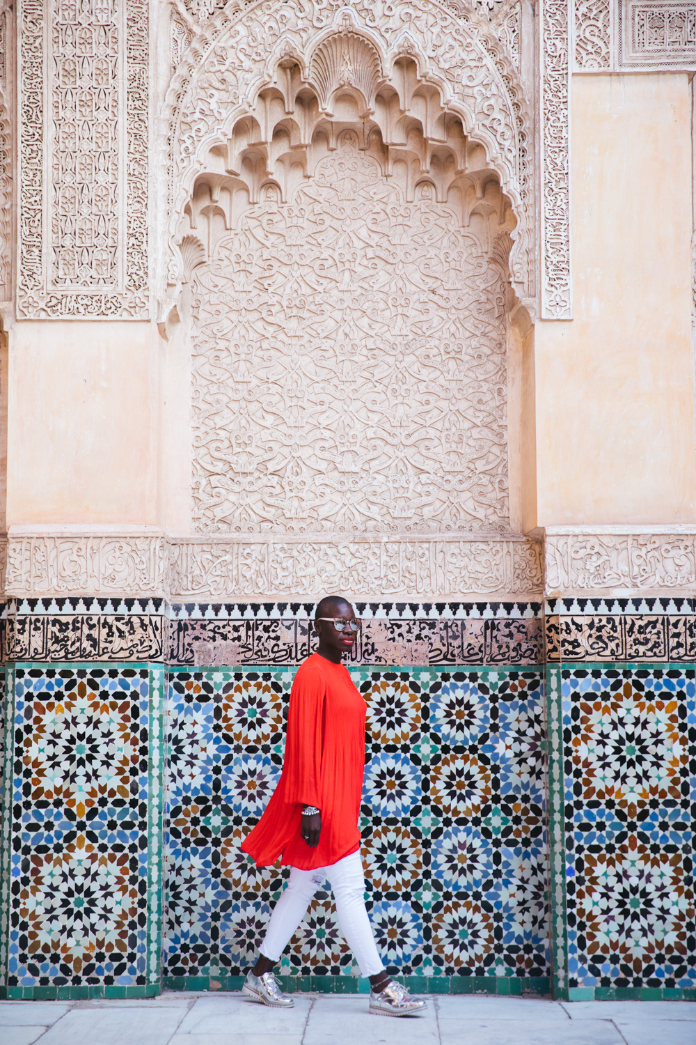 Jessica just gliding through the Ben Youssef Mosque... another tourist must-see.
