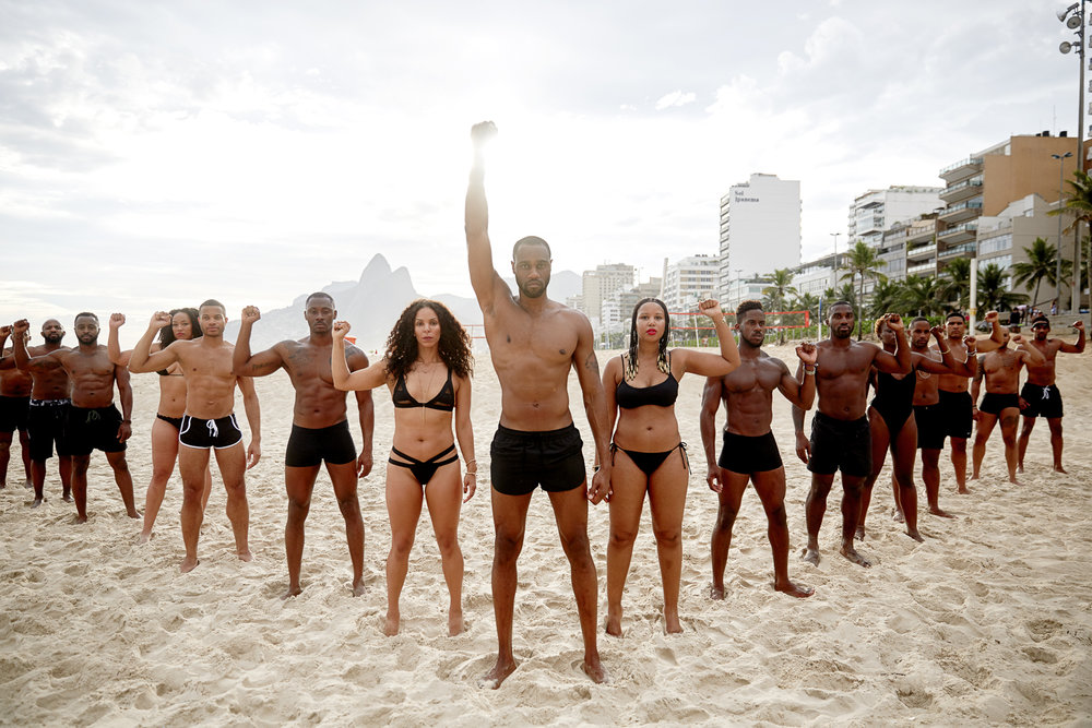 Ipanema Beach, 2016.   We were feeling blackity-black in Brazil. ✊🏿#MOOD