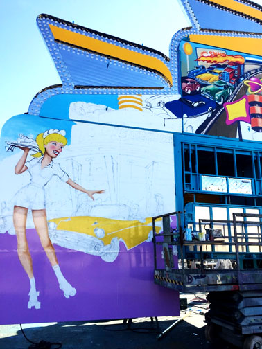 Above: This is what a deskshot looks like when your job is painting carnival attractions. (image courtesy of Larry Welz)