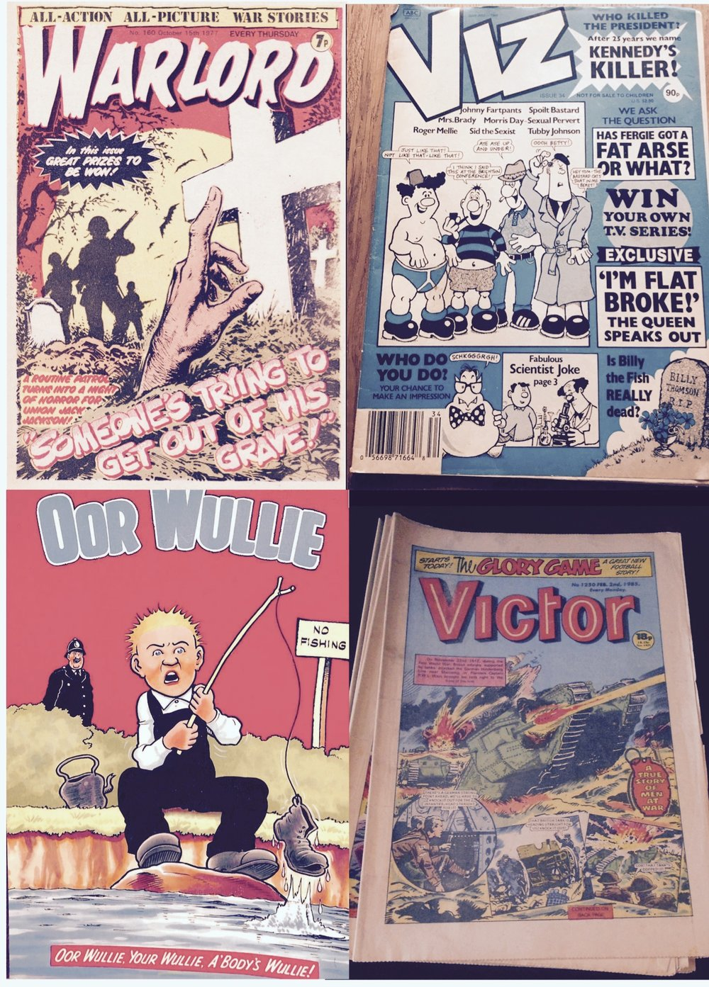 Above: Find copies of Warlord, Viz, Oor Wullie & Victor for sale online.