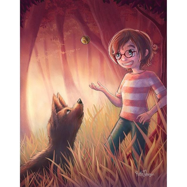 Fetch. Have lots of good memories of playing fetch with my own dog in the autumn. Good times.  #conceptart #visdev #fantasyart #fantasy #kidlit #kidlitart #autumn #autumnleaves #autumnart #autumnillustration #autumncolors #forest #woods #forestlovers #forestlife #naturelovers #adventure #fetch #dog #happydog #illustration #instaart #digitalart #corelpainter #digitalpainting #childrensillustration