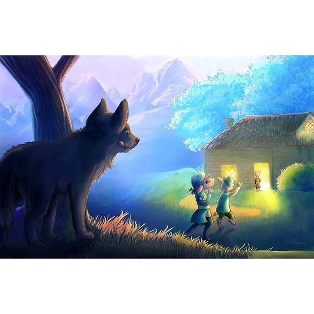 Another three little pigs illustration. The wolf approaches as the three pigs reunite in the brick house.  #conceptart #visdev #characterdesign #characterconcept #kidlit #kidlitart #illustration #instaart #character #costumedesign #digitalart #corelpainter #digitalpainting #childrensillustration #anthropomorphic #threelittlepigs #pig #pigart #wolf #fable #oink #fairytales