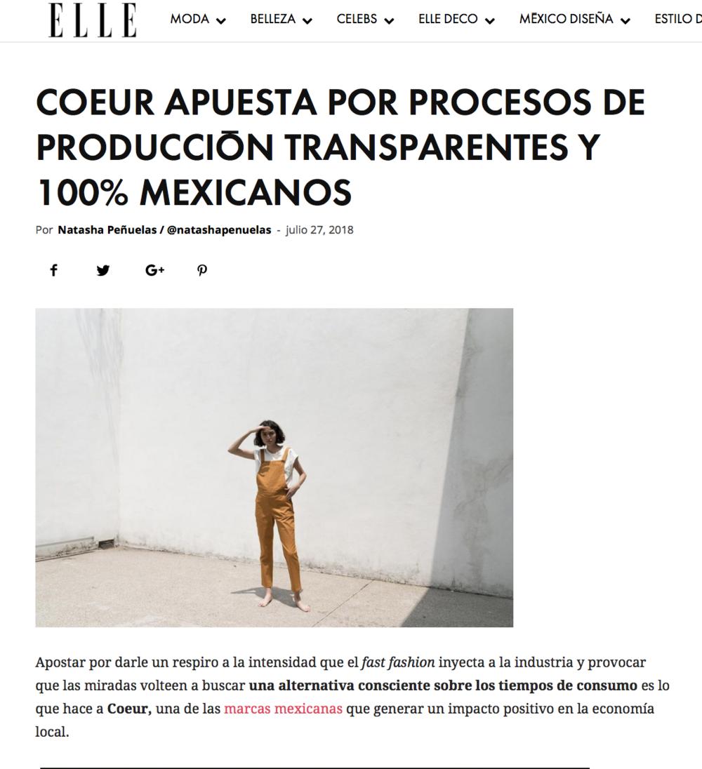Elle México Web, Julio 2018.