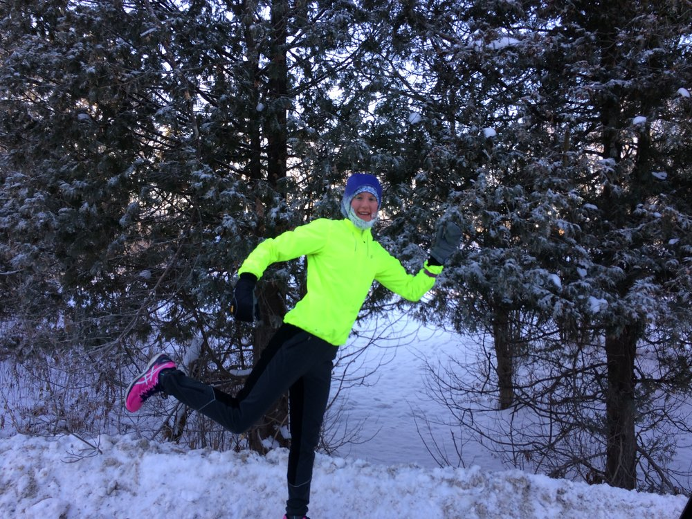 Bright and frozen! My car said it was -11 degrees this morning at the end of my run. I had on 2 hats, 4 tops, and 2 pairs of pants. Plus, I wore my buff, gloves inside my mittens, and had hot tea waiting for me at the finish. It wasn't all that bad :)