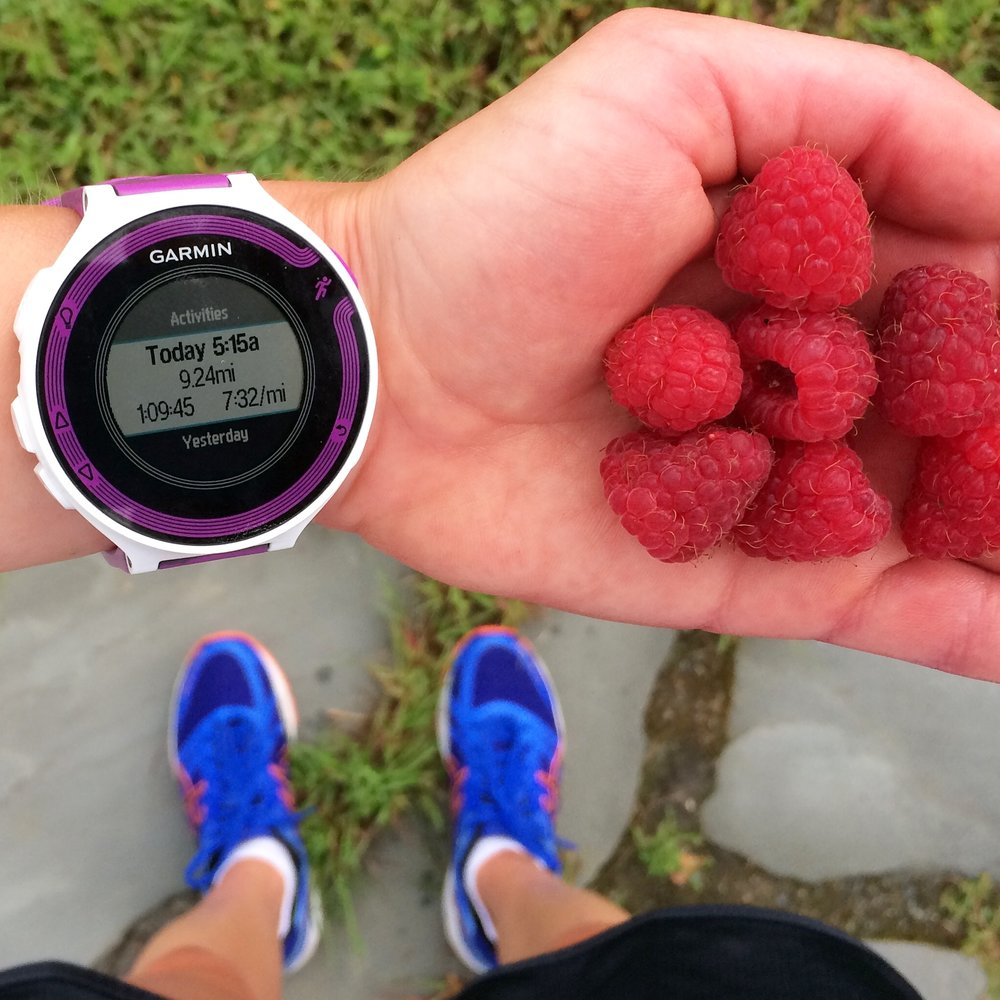 Love finishing my runs with raspberry picking!