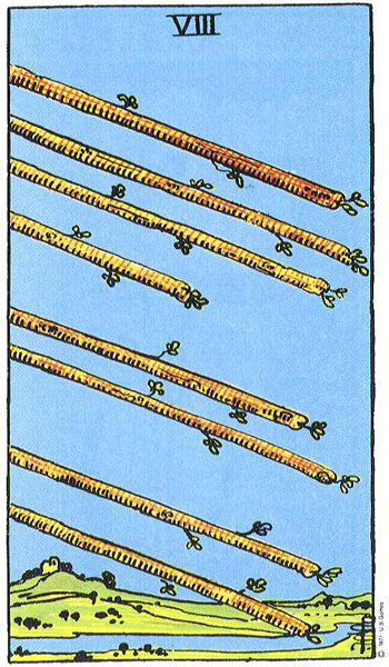 the Rider-Waite-Smith Eight of Wands
