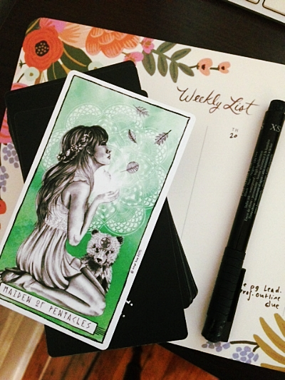 Maiden [Page] of Pentacles from the Lumina Tarot