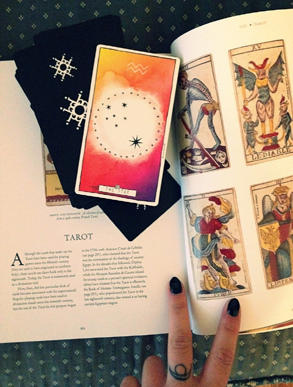 the Lumina Tarot deck and  The Occult, Witchcraft, and Magic: an Illustrated History  by Christopher Dell