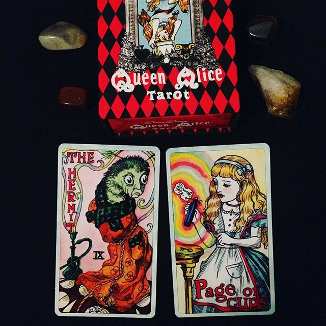 OMG this deck could not make my soul any happier!!! 😍🍄😍 Thank you @damedarcy for the glorious Queen Alice Tarot!!! 😍🍄😍 #queenalicetarot #aliceinwonderland #trippytarot #damedarcy