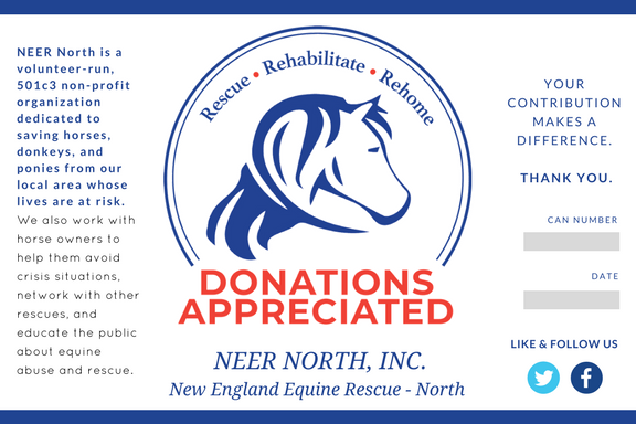 Donation Can Label for Non-Profit Equine Rescue