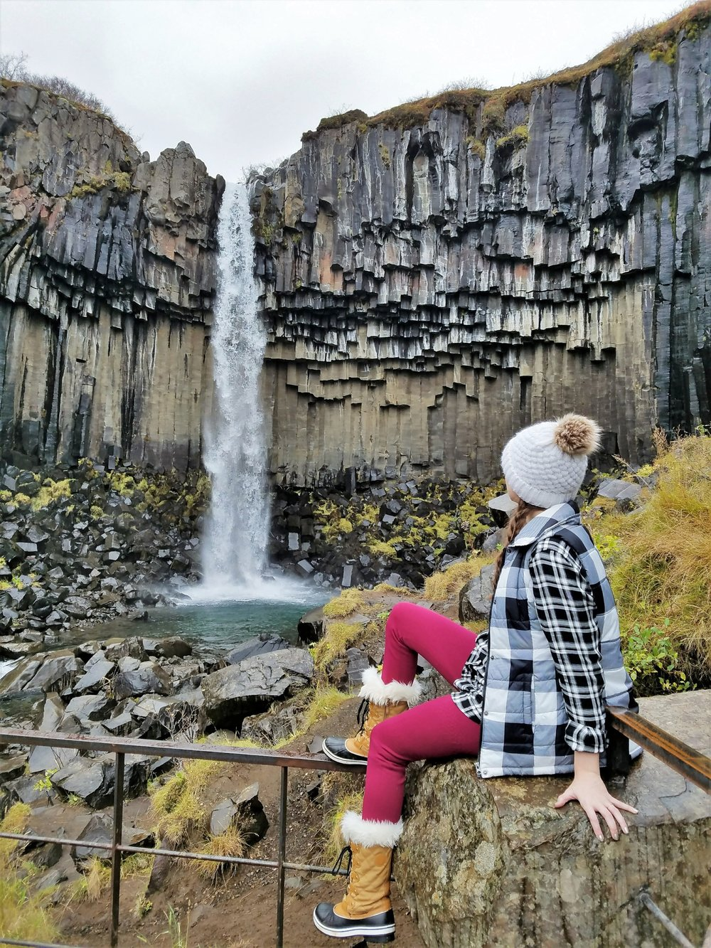 Svartifoss waterfall is a unique Iceland waterfall with basalt columns in a national park along the south coast. An easy hiking trail leads to this scenic view. Check out 7 of the prettiest waterfalls in Iceland here. #iceland #icelandtravel #europetravel #travel #traveldestinations #traveltips #waterfalls #icelandwaterfalls #svartifoss #beautifuldestinations