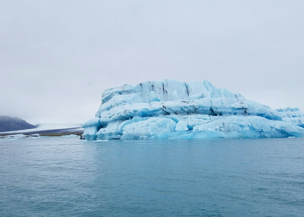 Take a boat ride on the Jokulsarlon glacier lagoon to see icebergs and glaciers