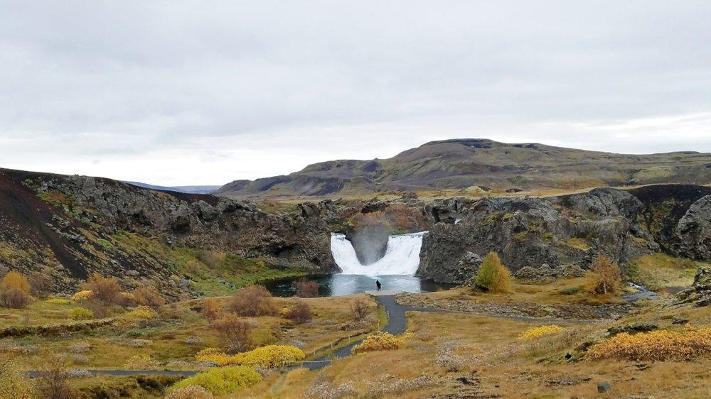Iceland day trip to Hjalparfoss waterfall