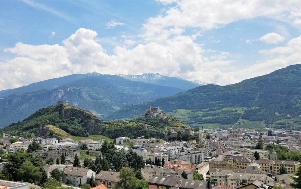 Tourbillon Castle and Basilique de Valere in Sion have stunning views from their hilltop positions. You can wander around inside both as long as you can handle the winding stairs up hill. #Switzerland #Castles #Sion #Travel #Lifestyle #TravelTips