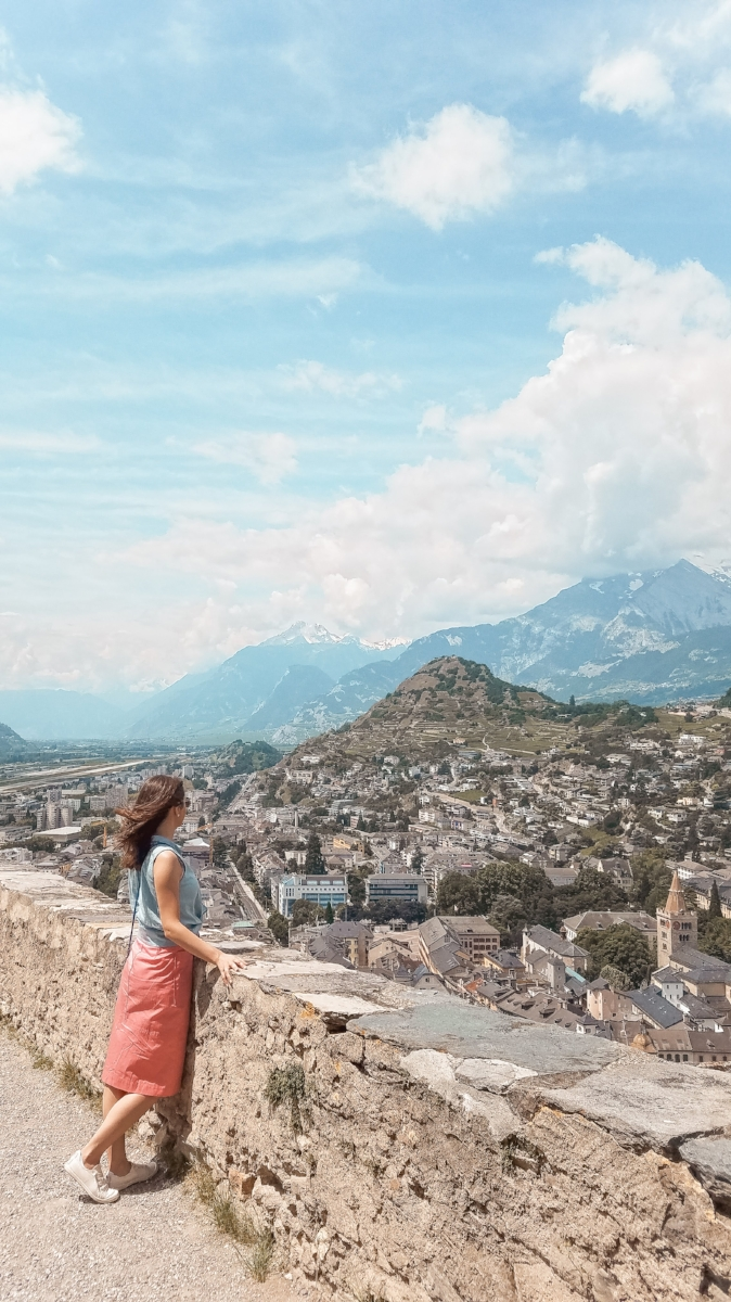 From hilltop Basilique de Valere you can see the town of Sion below. #travel #travelblog #Switzerland #Castle #swisscastle