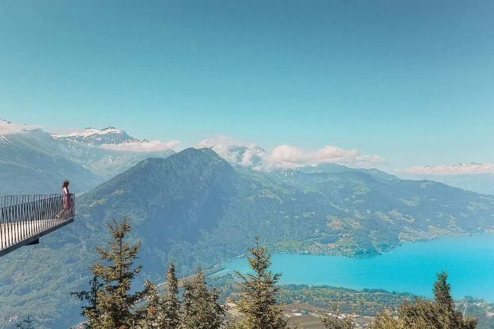 It takes money to pay for plane tickets and bucket list travel experiences like this funicular ride up a mountain in Switzerland. So how do we travel to places like Italy, Iceland and Hawaii without going totally broke? Find ideas on how to cut back from these 21 things I don't spend money on to afford my travel habits. #Traveltips #Travel #Wanderlusttravel #Traveltheworld #Travelblogger #Traveladvice #Budgettravel #travelblog #travelbudget #wanderlust #lakes #switzerland