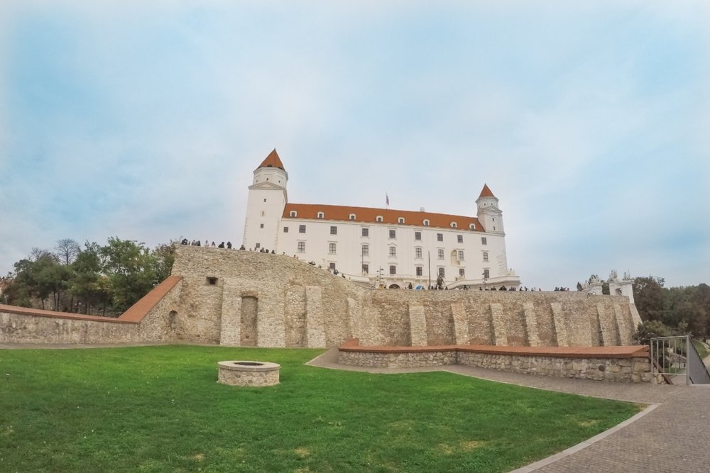 The Bratislava Castle in Slovakia's capital city. Bratislava can be visited on a day trip from Vienna as part of this 7-day itinerary in Central Europe.