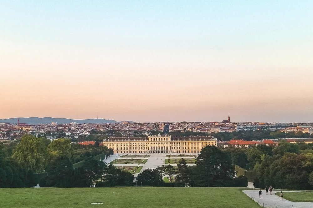 Sunset of the city of Vienna, Austria, one of the grand capital cities covered in this 7-day Central Europe itinerary to Prague, Vienna and Budapest.