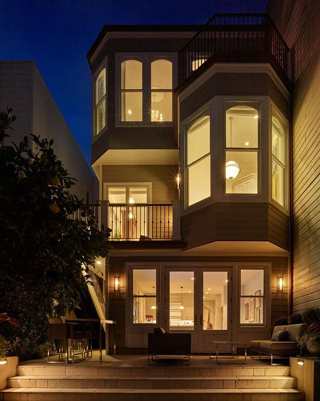 Taking a trip down memory lane with this timeless full house remodel 🏡  Architect - @gordon_greineder  Designer - @marshandclark  Photography- @nikvasphoto  #remodel #timeless #construction #sf #windows #doors #eveningphotography