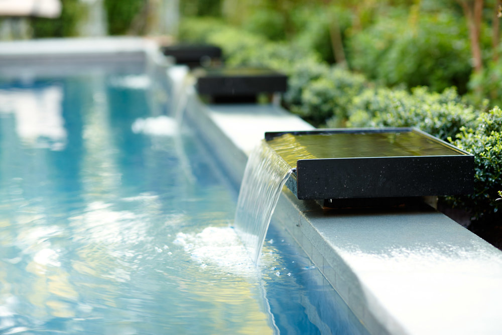 Bon Contemporary Lap Pool | Waterfall | Marcia Fryer Landscape Design