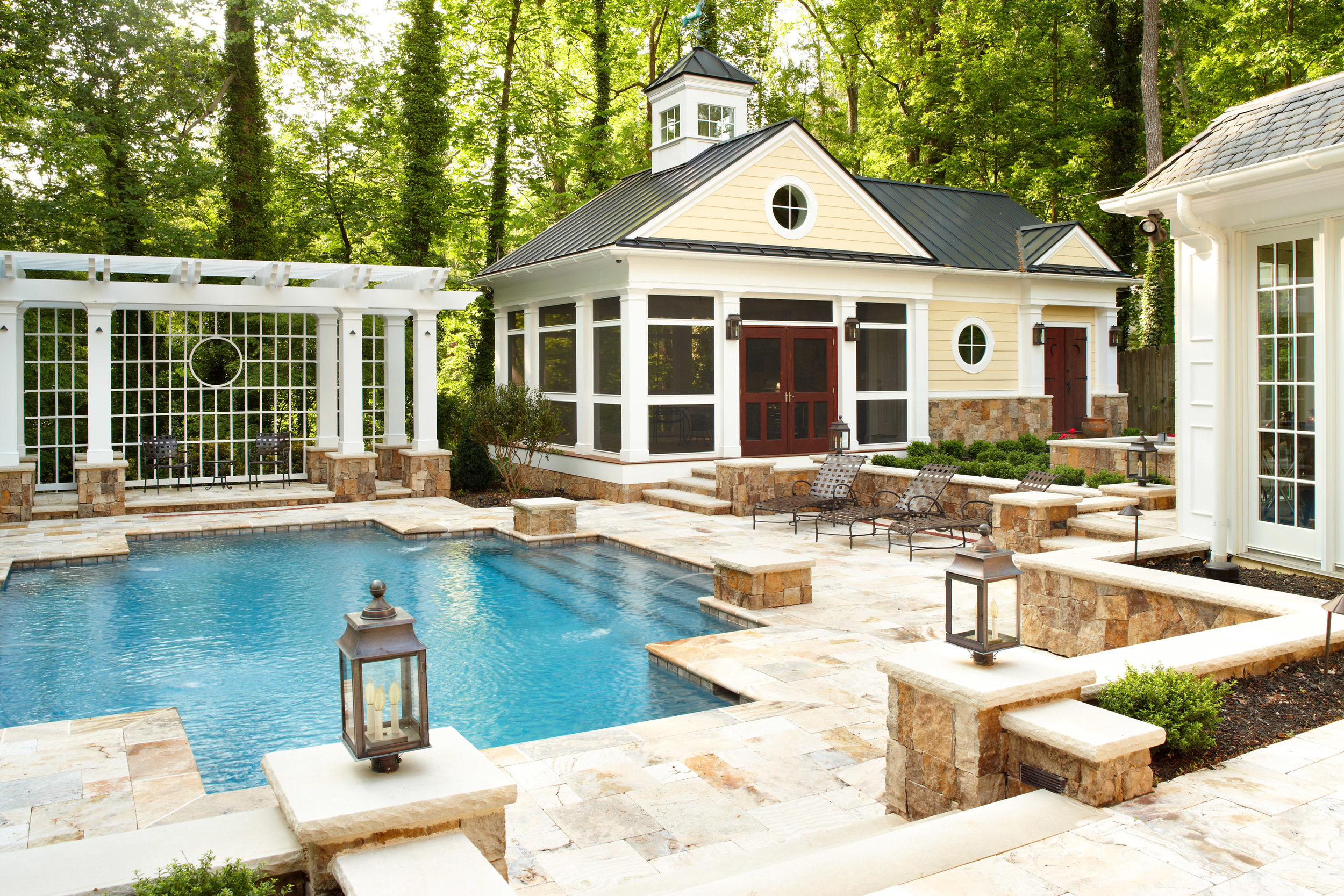 painted dutch colonial pool fountains and screen porch u2014 marcia