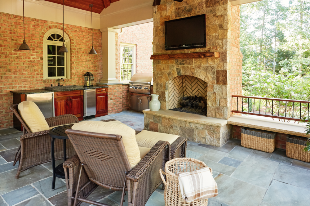 Marcia Fryer Landscape Designs | Richmond VA | Outdoor Living Area With  Flatscreen Over Fireplace.