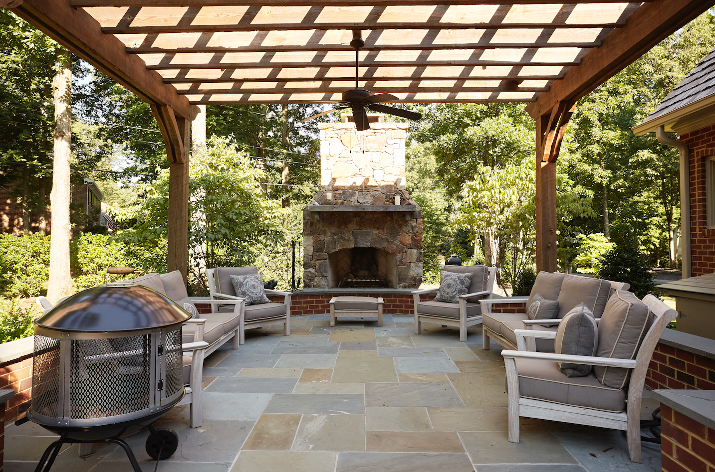 Pergola Patio with Stone Fireplace + Outdoor Dining — Marcia Fryer ...