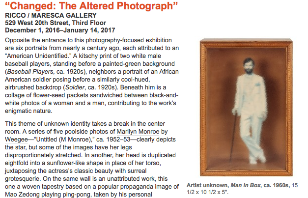 """critic's pick: """"changed: the altered photograph"""" - written for artforum, january 2017"""