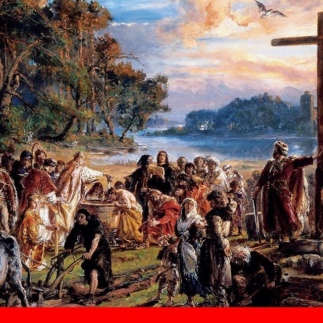 The Baptism of Poland, as interpreted by Jan Matejko. As listeners know, the chain of events that led to the early Christianization of Poland was started by Dobrawa of Bohemia. The wife of Polish ruler Mieszko I, Dobrawa is widely seen as the catalyst that pushed Mieszko to get baptized in 966.
