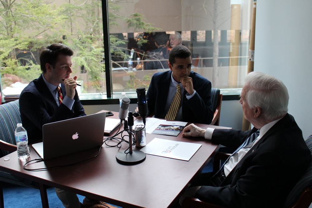 Editors Kirk Kovach and Dante Pittman interview former Governor Jim Hunt at the Hunt Institute in Durham, North Carolina.