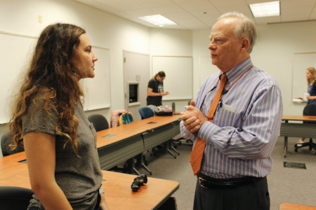 Judge Orr at one of his Fellows Seminars talking with a student.